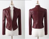 Fall 2014 new lapel motorcycle leather jaqueta de couro feminina