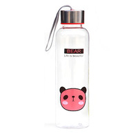 500ml portable transparent Cartoon Bear steel cover cup - red color