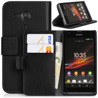 Side Flip Leather Case For Sony Xperia SP 4G M35h Cover C5302 C5303 C5306 Wallet Pouch Cover with Card Slot Handbag
