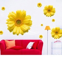 Free Shipping New Arrive 2014 Decorative Combination DIY Wall Sticker Chrysanthemum Yellow Daisy Art Decor Home Bedroom
