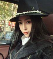 Europe Maison Michel autumn and winter style black woolen hat big women sun hats