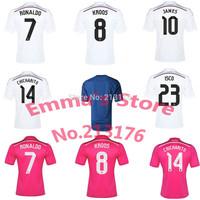 Top Thai quality 2015 Real Madrid soccer Jersey KROOS RONALDO BALE James Rodriguez football shirt  FREE SHIPPING!