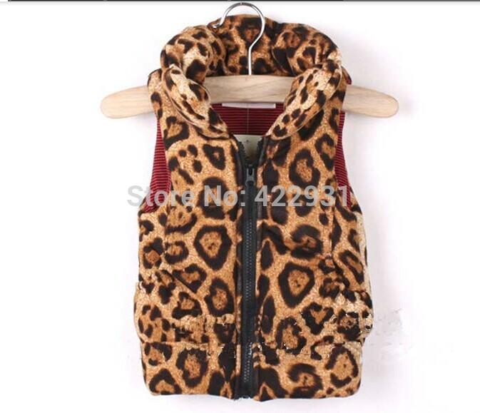 1-6years Fashion baby girls leopard vest children fall winter waistcoat vests for children sleeveless jacket warm girl(China (Mainland))