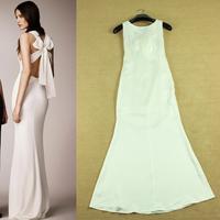 2014 runway dress women's High quality white evening dress vintage dresses brand dresses vestido de festa