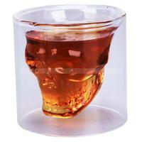 Free Shipping  New Arrival Crystal Skull Head Beer Glass Vodka Shot Glass Drinking Ware for Home Bar Strange Visual Enjoyment