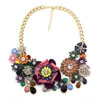 2014 New disign flower pendant necklace Unique costume chain pendant choker collar bubble Necklace statement jewelry women