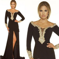 Designer Sexy Black Chiffon Scoop Front Split Crystal Beads Long Sleeves Evening Gowns Prom Party Dresses Off Shoulder Dress