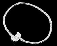 PH100 Fashion Women European 925 Silver Bracelet & Bangle Snake Chain with Barrel Clasp fit for Pandora or Chamilia Bead Charms