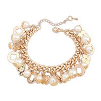 2014 New Luxury Elegant Pearls Flowers Clover Refinement Design Statement Charms Bracelets&Bangles Fashion Women Jewelry