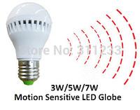 Motion Sensor Optical Sensor LED Globe 3W 5W 7W 80LM/W White Warm White Colors 180-250V Input