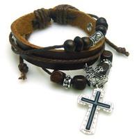 Fashion Vintage men jewelry Braided leather cross charms bracelet Cow leather bracelet