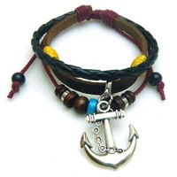 Hot fashion antique men jewelry Braided leather anchor charms bracelet Real leather bracelet