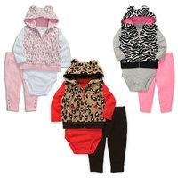 wholesale 5set/lot girl's clothes ,long sleeve romper hooded vest pants 3pcs set spring autumn baby clothe,infant clothes sets