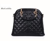 New Woman PU Leather Vintage Plaid Tote Handbag Shoulder Cross-body Small Bag White Black for 2014 Ladies Message Bag, 1823
