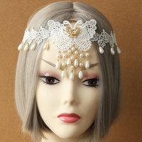 Headband Womens Bridal Wedding Dance Bead Drop Butterfly Flower Lace Gold Metal Bungee Elastic Hair Band Hairband Lolita