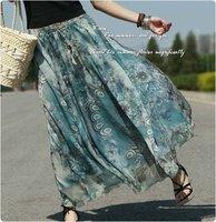 Peacock Print Skirts Womens Chiffon Long Skirt Ruffle Elastic Waist Maxi Sheer Bohemian Skirt saias femininas 2014 S142019