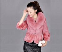 2014 women's fight mink fox fur rex rabbit short design mink fur coat overcoat