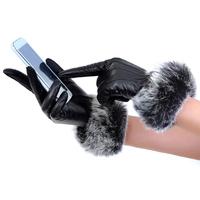 Genuine sheepskin leather touch screen gloves women driving warm leather glove pele de carneiro couro genuino luvas touch screen