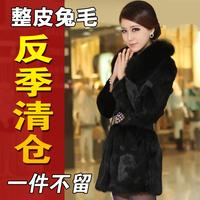 2014 female plus size full leather rabbit fur coat medium-long fox fur mm