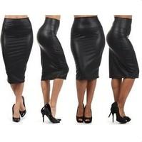 Free shipping Women 2014 New Fashion Skirts Black Faux Leather  Pencil Skirt  High Waist Sexy Knee length Plus Size Midi Skirt