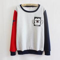 2014 new harajuku women's spell color sweatshirt cartoon monkey round neck sweaters fashion thicker grip