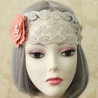 "Handmade Womens 2.8"" Width Crystal Flower Filigree Lace Bungee Hair Band Elastic Headband Head Wrap Boho Party Dance Gift Lolita"