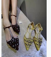Free shipping 2014 Genuine leather shoes T rhinestone pointed toe shoes low heels flats Sandals for women ,3 colors