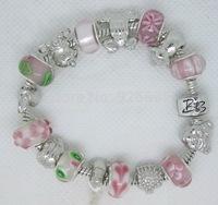 PH090 Fashion European Style 925 Silver Crystal Charm Snake Chain Bracelet Bangle for Women Chamilia Glass Bead Handmade Jewelry