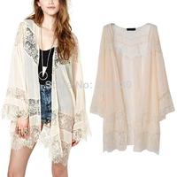 New 2014 Summer Women's Fashion Sexy Lace Stitching Chiffon Long Sleeve Loose Kimono Cardigan Long Jacket Blouse Shirts Tops
