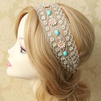 "Handmade Womens 2.4"" Width Stone Flower Filigree Lace Bungee Hair Band Elastic Headband Head Wrap Boho Party Dance Gift Lolita"