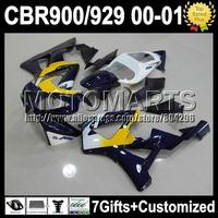 7giftFor HONDA Dark blue black 00 01 CBR929RR CBR 929 929RR 900RR K6523 CBR900RR CBR929 RR gloss blue 2000 2001 HOT Fairing Kit