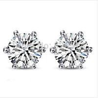 [Free Style] AAA Top Quality Swiss CZ Diamond Stud Earrings Six Claw 316L Titanium Steel Crystal Wedding Earrings For Women 2014