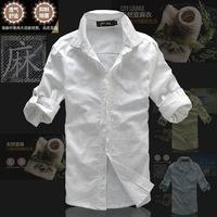 New 2014 Three-Quarter Sleeve Linen Men Shirt  Summer Mens Dress Shirts White Cotton Shirt Loose Linen Casual Shirt