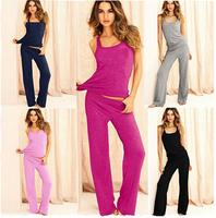 Free shipping Black Grey Women Pajamas Set 2014 Autumn Cotton Sleepwear Lounge Clothing Tank Pant Knitted Pyjama Big Size S-XL