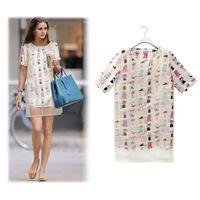 2014 New summer Cartoon Print Dress Chiffon Casual Lace plus size O-Neck woman clothes roupas femininas vestido estampado festa