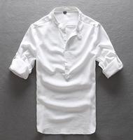 Quick Drying Men's Casual  Shirts Brands  Summer Loose Linen Men Shirt White Mandarin Collar 3colors 5size S-XXL