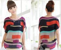 2014 fashion Women Striped chiffon blouse Multi-colour print shirts Loose Short Sleeve casual blusas femininas plus tops