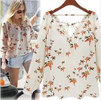 New Fashion women elegant floral print blouse V-neck casual vintage shirt slim high quality brand designer tops