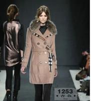 2014 new british double-breasted cloth wool coat Turn down collar medium-long blend wool collar  Women clothing DHL free ship