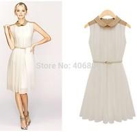 Homegrown quality assurance authentic women sleeveless summer dress Slim crimp collar doll dress