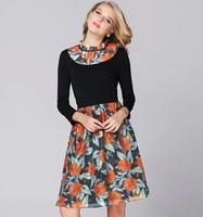2014 new european style Organza knitting autumn dress Print floral autumn winter women dress High quality brand lady dress