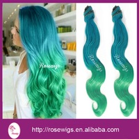 6A Virgin Ombre Brazilian Hair Bodywave Blue /Green Ombre Virgin Brazilian Hair 3packs /lot