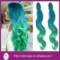 6A Virgin Ombre Brazilian Hair Bodywave Turquoise /Green Ombre Virgin Brazilian Hair 3packs /lot