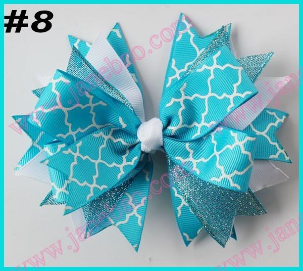 free shipping 2014 newest 65pcs 4.5'' spike hair bows with chevron ribbon and quatrefoil ribbon hair clips(China (Mainland))