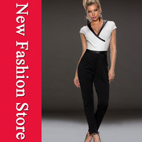 New Women White Black Patchwork Long Trousers Overalls Rompers Womens Jumpsuit 2014 Macacao Feminino LC6451 Combinaison Playsuit
