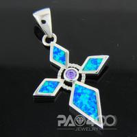 Purple Amethyst Pacific Blue Fire Opal Silver  Fashion  Jewelry Women & Men Pendant OCP0167LA Wholesale & Retail