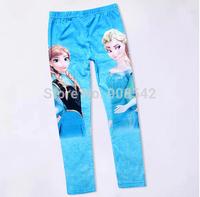 1pc new Baby leggings Kid pants  Full Length girl frozen leggings elsa and anna frozen pants Elastic waist cotton leggings kids