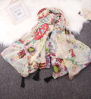 50% 2014 new fashion woman's summer autumn scarf  It happyatomic bohemia gem flower tassel velvet travel large facecloth scarf