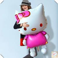 Free Shipping Cute Hello Kitty Cat Shape Aluminum Foil Balloon, Cartoon Character Shape Self-seal Balloon, Best Gift