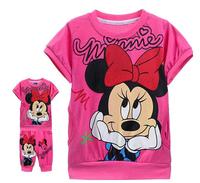 2014 Girls Children Suits Cute Cartoon Minnie Cotton Kids Suits T-shirt+Pants 2pcs/set Pink/Rose